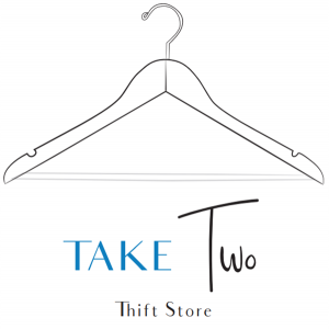 take two thrift store logo with a clothes hanger